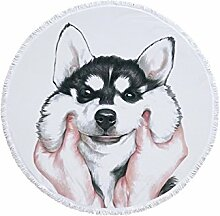 Flowerrs Fitness-Handtuch Round Siberian Husky