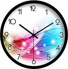 Flüsterleiser Uhr Mode Haus Accessoires Personalisierte kreative Wohnzimmer Ruhige Wanduhr Kunst Uhren (schwarze Grenze, weiße Grenze, silberne Grenze) günstigen Preis. ( Farbe : Black Border , größe : 12 Inches )