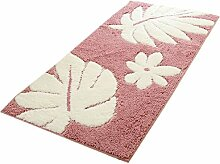 Fluff Tür Boden Rutsch Matte Teppich Romantic Flowers Pink, Synthetisch, mehrfarbig, 60*90cm