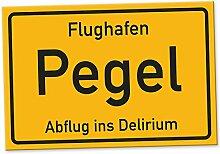 Flughafen Pegel - Schild (30 x 20 cm), Lustige Geschenkidee Geburtstagsgeschenk für den besten Freund oder Kumpel, Kleines Geschenk für Männer, Wanddeko Mallorca-Party, Zubehör für Trinkspiele