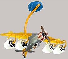 Flugzeug Deckenleuchten, kreative Led Kinder Schlafzimmer Lichter Junge Cartoon Flugzeug Raum Kronleuchter Kindergarten Klassenzimmer Dekoration Lampen Und Laternen 4 Kopf E27, 80 * 60 * 45CM ( größe : A )