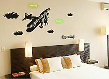 Flugzeug Wandtattoo House Aufkleber abnehmbarer Wohnzimmer Tapete Schlafzimmer Küche Art Bild Wandmalereien Sticks PVC Fenster Tür Dekoration + 3D Frosch Auto Aufkleber Geschenk