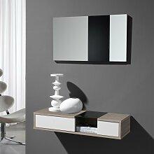 Flur Wandkonsole und Spiegel in Weiß Hochglanz