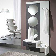 Flurgarderobe in Weiß Hochglanz Grau mit Spiegeln