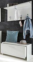 Flurgarderobe weiss dekor - Garderobenset mit Truhe und Garderoben-Paneel weiss - (3267)