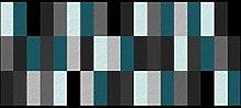 Flurläufer - Küchenläufer - blocks - blau - türkis - grau - beige Universal Läufer - Küchenmatte - Läufer - Dekoläufer für Küche , Flur , Wohnzimmer und Bar - Der Hingucker in Ihrer Wohnung - Ihre Gäste werden staunen - waschbare Läufer - Küchendeko Modell - 67 x 150 cm
