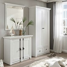 Flurmöbel Set im Landhaus Design Pinie Weiß