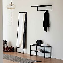 Flurmöbel Set in Schwarz Standspiegel (dreiteilig)