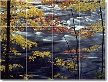 Fluss Szene Badezimmer Fliesen Wand chromfarben. 45,7x 61cm mit (12) 6x 6Keramik Fliesen.