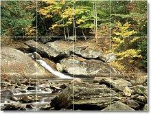 Fluss Szene Badezimmer Fliesen Wandbild R052. 61x 81,3cm mit (12) 8x 8Keramik Fliesen.