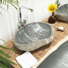 Flußstein Waschbecken 60 cm groß Flusskiesel