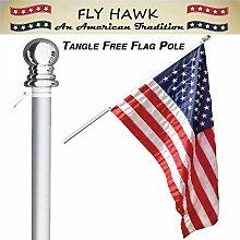 FLY HAWK amerikanische Flagge und Fahnenmast Set,