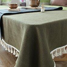 FLYRCX Gewaschen Leinentischdecken modern Grau mit Fransen, rechteckigen Tisch Schrank Staub Tuch, 130 x 230 cm, C