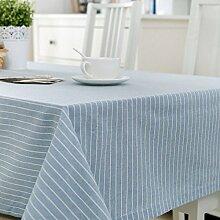 FLYRCX Moderne europäische Einfache gestreift Baumwollstoff Tisch Tischdecke TV-Schrank Staub Tuch, 130 x 210 cm, D