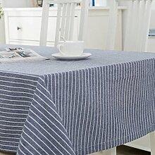 FLYRCX Moderne europäische Einfache gestreift Baumwollstoff Tisch Tischdecke TV-Schrank Staub Tuch, 130 x 210 cm, EIN