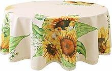 Flyspeed Runde Tischdecke mit Sonnenblumen-Motiv,