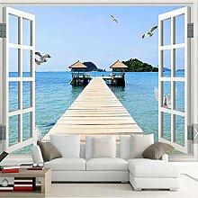 FLYYL Fenster Meer Strand Mew Fototapete Tapete