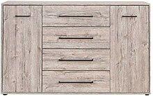 FMD Möbel Juli 6 Kommode, Holz, sandeiche, 144 x