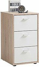 FMD Möbel Virginia 1 Nachtkonsole, Holz, eiche / weiß, 35 x 40 x 62.5 cm