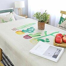 FMYAO Tischdecke mit Pflanzenmuster, Baumwolle und