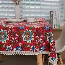FMYAO Tischdecke mit rotem Muster, Baumwolle und