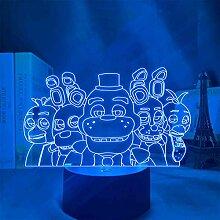FNAF 3D-Illusion Lampe, LED-Nachtlicht, FNAF