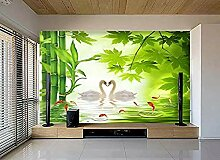 FobostoryWandbild Tapete Schwanensee Bambus