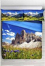 Förderung: Bettbezug Doppelbett Dolomiti–Landschaft Von Bergen–Feinste Baumwolle Digitaldruck–Produkt Italienisch
