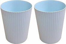 FOKOM 2St. Set Vintage Papierkorb Mülleimer Abfalleimer ohne Deckel