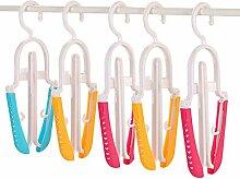 FOKOM 5 Stück Faltbare Anti-Rutsch Kleiderbügel-Wahllose Farbe