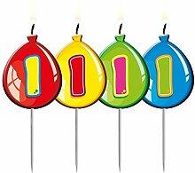 Folat 4 Zahlenkerzen * Zahl 1 * im Luftballon