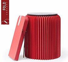 FOLD CONCEPT Faltbarer Papier Hocker Papphocker mit Sitzauflage   Innovativ & Multifunktional   brauner Karton   Recyclebar & Umweltfreundlich   Ideal für Wohnzimmer, Arbeitszimmer & Kinderzimmer   Falthocker (Rot, 42cm)