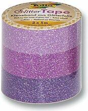 folia 28302 Deko-Klebeband Glitter Tape, rosa/pink/lila