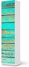 Folie für IKEA Pax Schrank 201 cm Höhe - 1 Tür | Design Möbel-Sticker Folie Möbelfolie selbstklebend | Einrichtung stylen Wohndeko | Muster Ornament Wooden Aqua