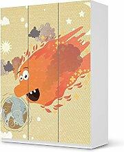 Folie für IKEA Pax Schrank 201 cm Höhe - 3 Türen | Design Möbel-Sticker Folie Möbelfolie selbstklebend | Einrichtung stylen Wohndeko | Design Motiv Happy Sun