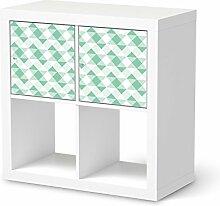 Folie Möbel für IKEA Expedit Regal 2 Türen Quer | Möbelfolie Klebesticker Tapete Folie Möbel verschönern | Home & Style Esszimmer Home Deko | Muster Ornament Triangle Pattern - Pastellgrün