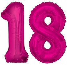 Folien Ballon Zahl 18 in Pink - XXL Riesenzahl 86