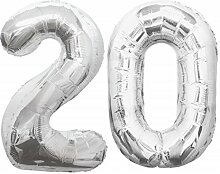 Folien Ballon Zahl 20 in Silber - XXL Riesenzahl