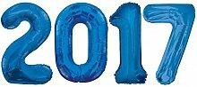 Folien Ballon Zahl 2017 in Blau - XXL Riesenzahl 86 cm zum Silvester, Neujahr, Jahreszahl - Jumbo