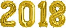 Folien Ballon Zahl 2018 in Gold - XXL Riesenzahl 86 cm zum Silvester, Neujahr, Jahreszahl