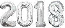 Folien Ballon Zahl 2018 in Silber - XXL Riesenzahl 86 cm zum Silvester, Neujahr, Jahreszahl
