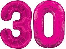 Folien Ballon Zahl 30 in Pink - XXL Riesenzahl 86