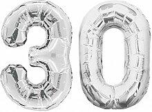 Folien Ballon Zahl 30 in Silber - XXL Riesenzahl