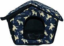 Folien-Stoff Faltbar/Wiege Hund/Notebook/Nest Haustier für kleine Hunde, Katzen mit Form von Wohnung Medium dunkelblau