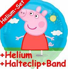 Folienballon Set * PEPPA PIG + HELIUM FÜLLUNG + HALTE CLIP + BAND * für Kindergeburtstag // Folien Ballon Helium Deko Ballongas Motto Einschulung 1 Klasse