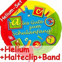 Folienballon Set * SCHULANFANG + HELIUM FÜLLUNG + HALTE CLIP + BAND * für Kindergeburtstag // Folien Ballon Helium Deko Ballongas Motto Einschulung 1 Klasse