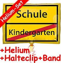 Folienballon Set * SCHULE / KINDERGARTEN * + HELIUM FÜLLUNG + HALTE CLIP + BAND * // Aufgeblasen mit Ballongas // Deko Geburtstag Folien Ballon Luftballon Einschulung