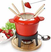 fondue set keramik cheese Gusseisen von 6 Gabeln