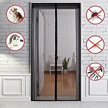 Fontic 90x210cm Fliegengitter Tür Moskitonetz Tür Insektenschutz Magnet Vorhang mit Magnetverschluss mit extra Klettverschluss und Reißnägel für Balkontür Terrassentür Wohnzimmer Schwarz