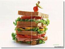Food Bild Keramik fliesenwandbild, englischsprachig. 32,4x 43,2cm mit (12) 4,25x 4,25Keramik Fliesen.